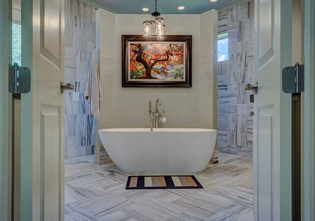 Luxury, modern bathroom. Renovation performed by renovation company FIX LTD