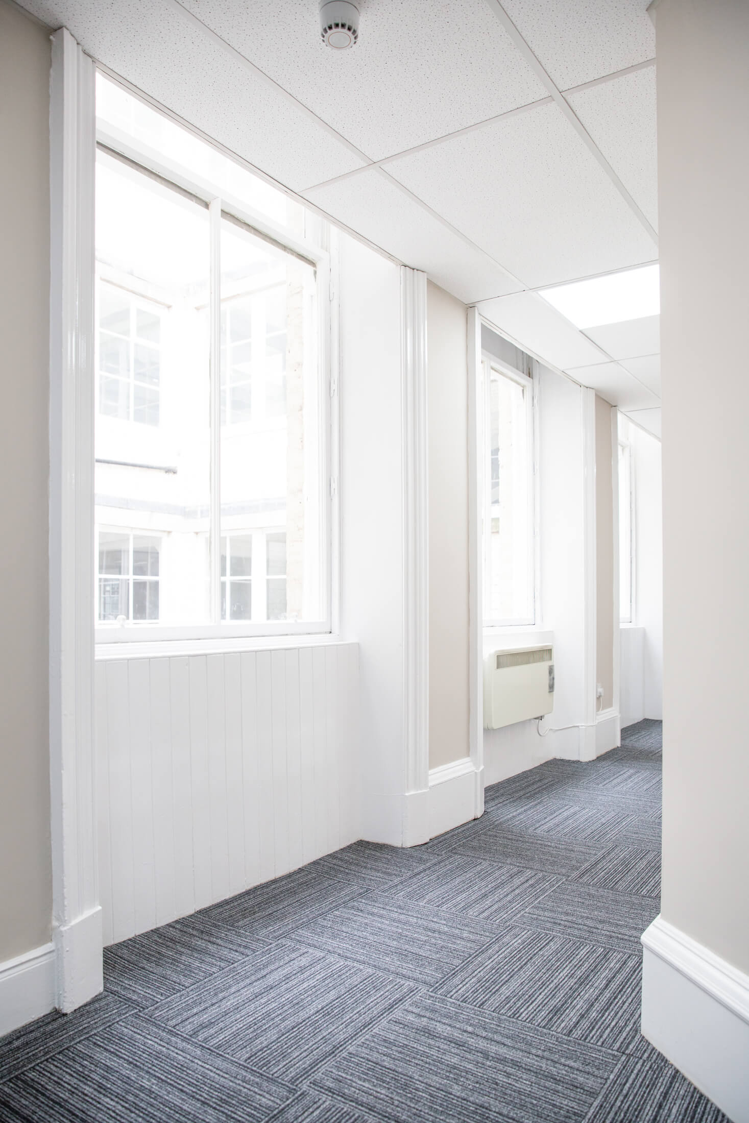 Renovated corridor in an office building in Glasgow