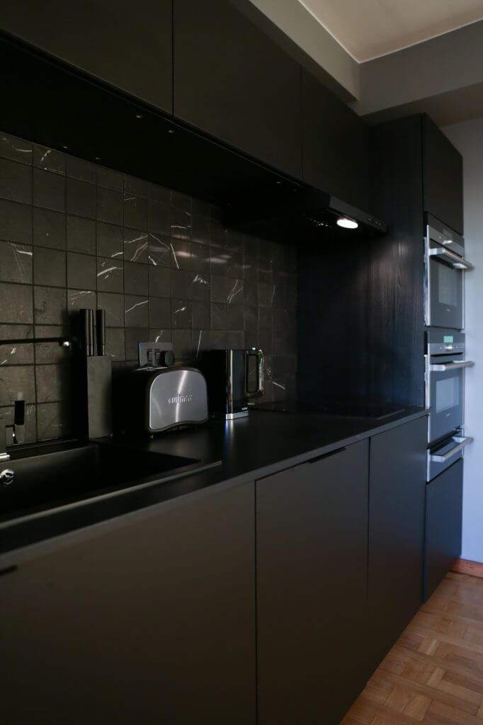 Black kitchen after installation, glasgow
