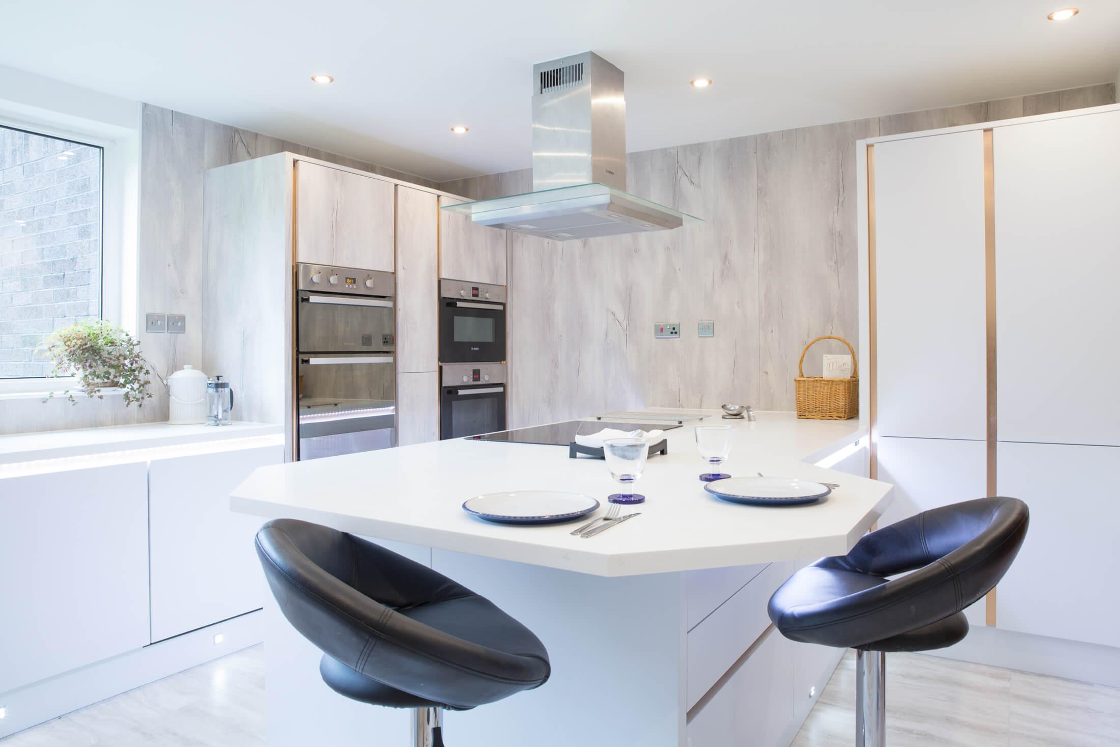 White, shiny, brand new kitchen in Glasgow apartment