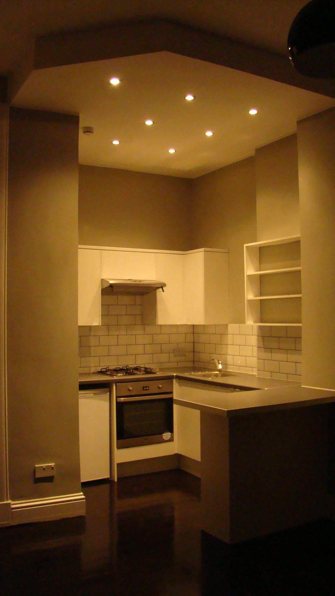 kitchen after refurbishment, suspended ceiling