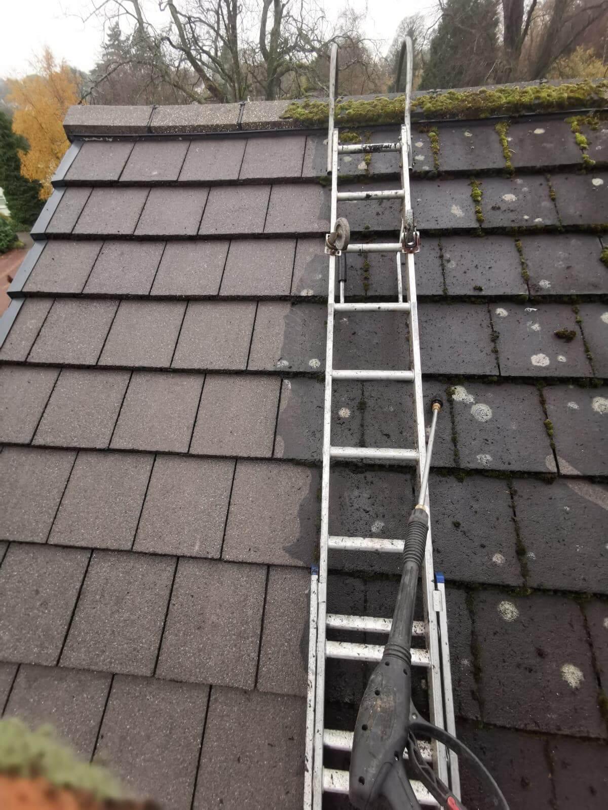 Glasgow, ledder on a roof