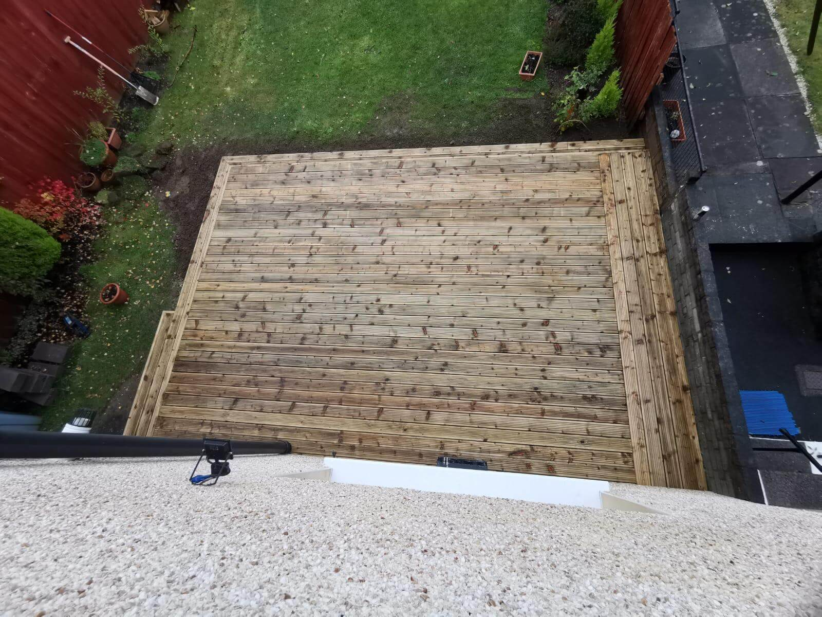 wooden patio oudsite of building, Glasgow
