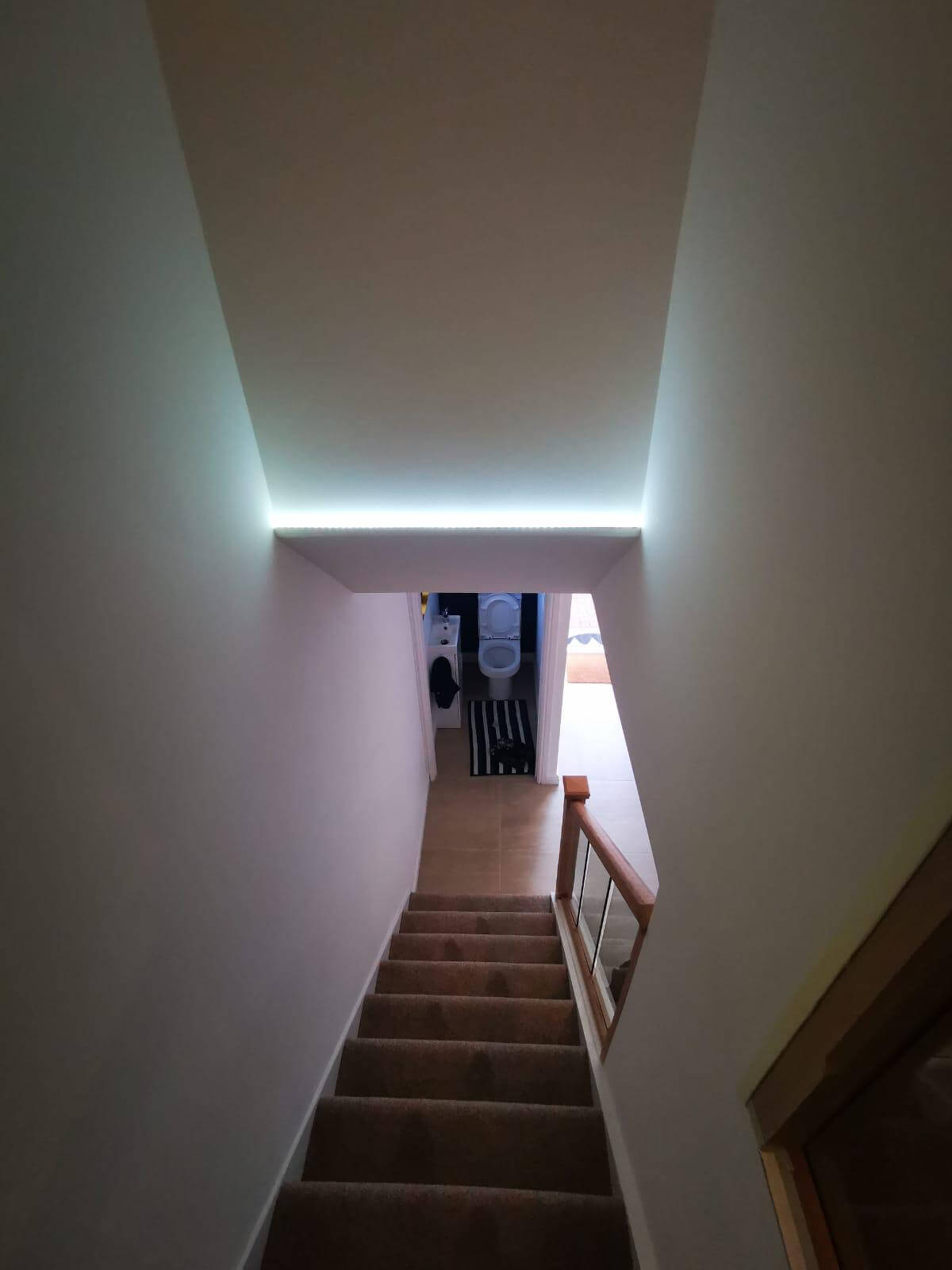 home after remodel, stairs, lights