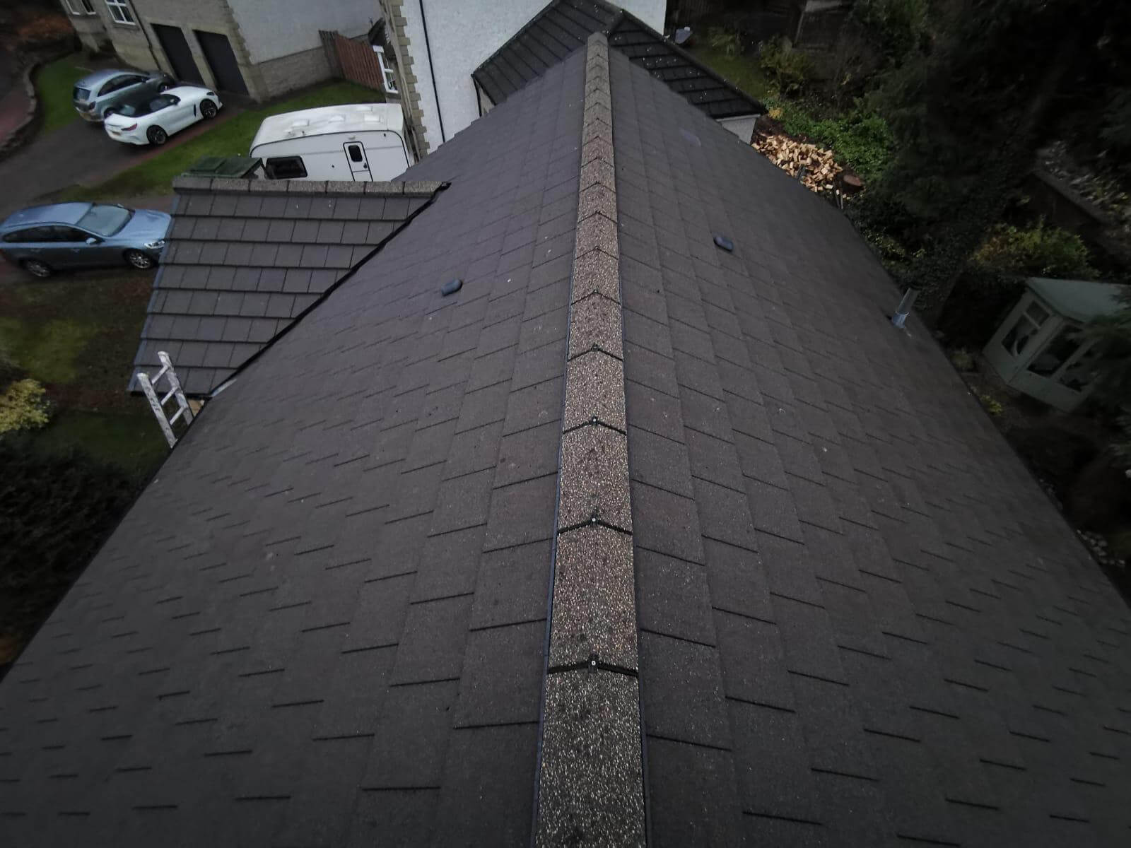 Gutter and roof after roofing services Glasgow